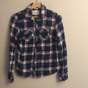 Aeropostale teal and purple flannel fitted medium